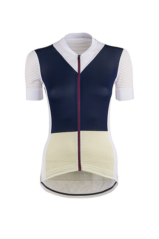[Cafe Du Cycliste] 카페 뒤 사이클리스트 Women's 미쉐린 Micheline Ultralight Jersey - Navy & Yellow