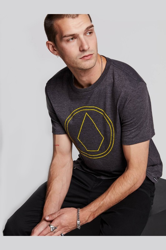 [VOLCOM] Men's PIN STONE S/S TEE- Heather Black