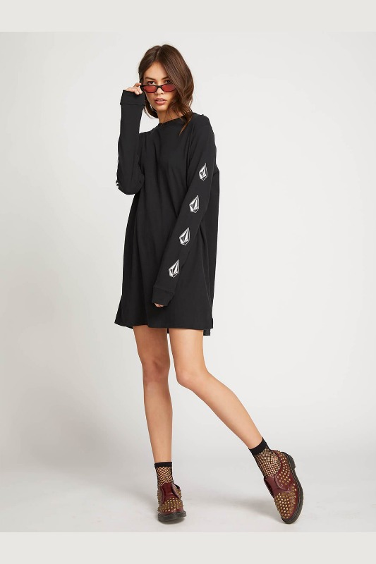 [VOLCOM] WOMEN'S WHAT A TRIP DRESS - BLACK