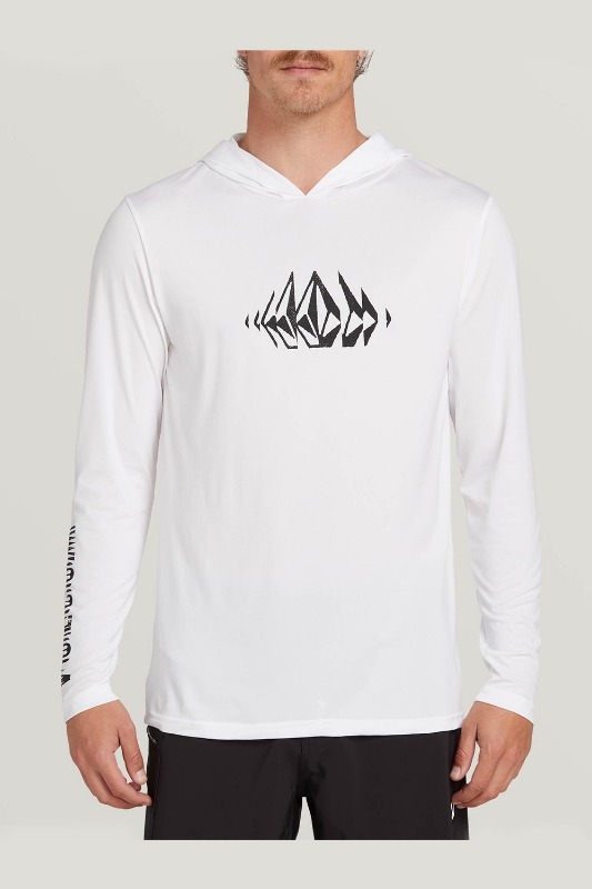 [VOLCOM] Men's SOUNDER HOODED L/S  RASHGUARD - White