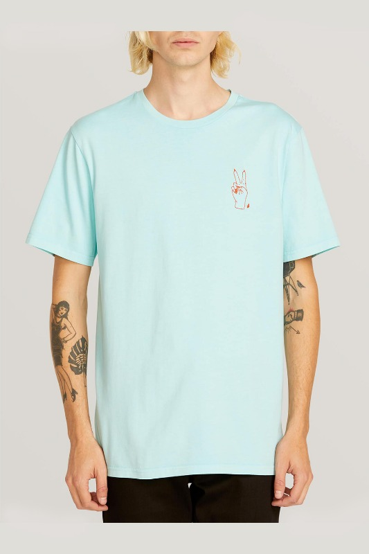 [VOLCOM] MEN'S GOOD LUCK SHORT SLEEVE TEE - PALE AQUA
