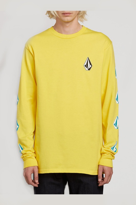 [VOLCOM] MEN'S DEADLY STONES L/S TEE - TRUE YELLOW