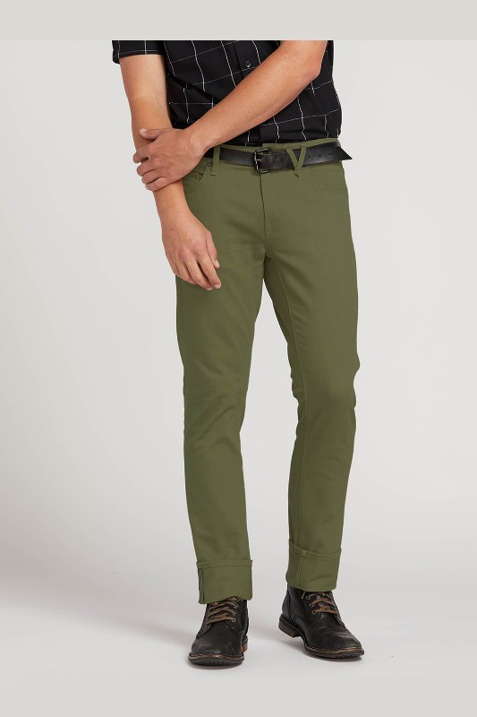 [VOLCOM] Men's VORTA 5 POCKET SLUB SLIM FIT JEANS - Vineyard Green