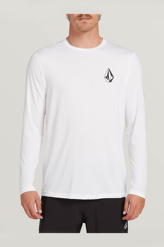 [VOLCOM] Men's DEADLY STONES L/S RASHGURAD - White