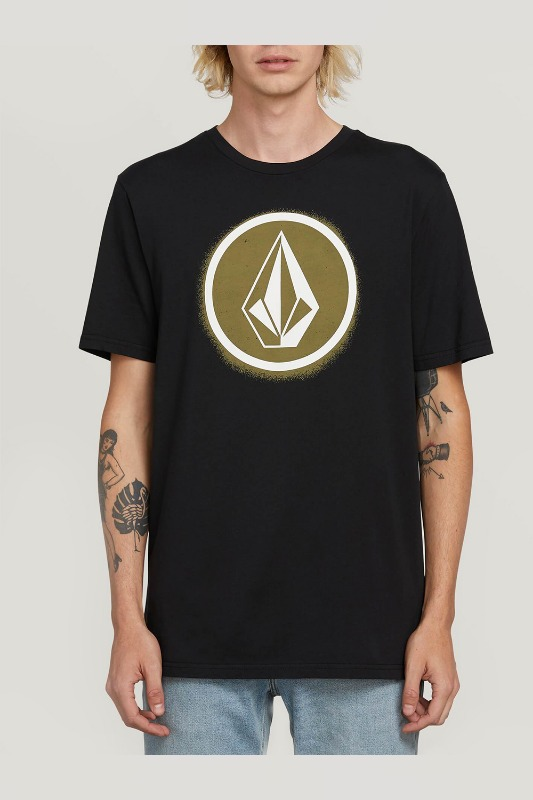[VOLCOM] MEN'S SPRAY STONE S/S TEE - BLACK