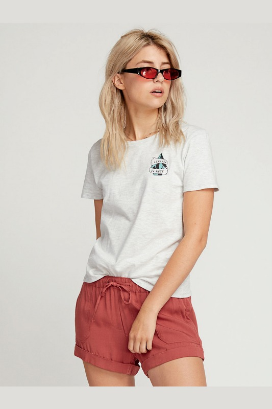 [VOLCOM] WOMEN'S LETS ALL BE NICE TEE - LIGHT GREY