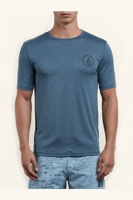 [VOLCOM] Men's LIDO HEATHER S/S RASHGURAD - Deep Blue