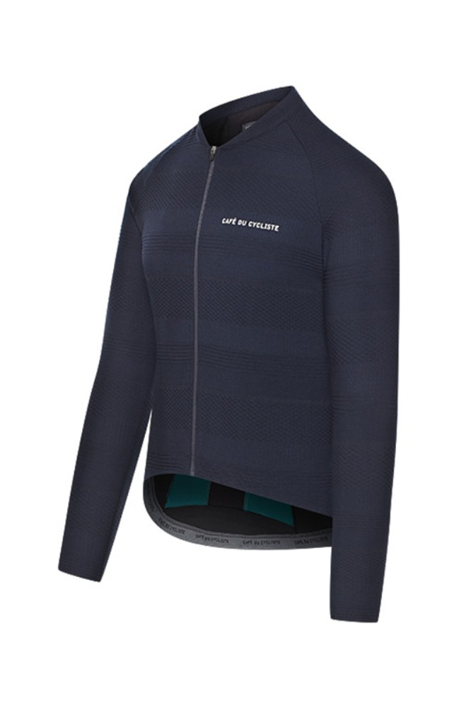 [Cafe Du Cycliste] Men's Corinne Textured Long Sleeve Jersey - Navy 코린느 텍스쳐드 롱슬리브 져지 네이비