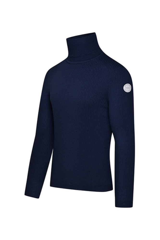 [Cafe Du Cycliste] Men's Nicole Polar Neck Jumper - Navy 니콜 폴라넥 점퍼 네이비