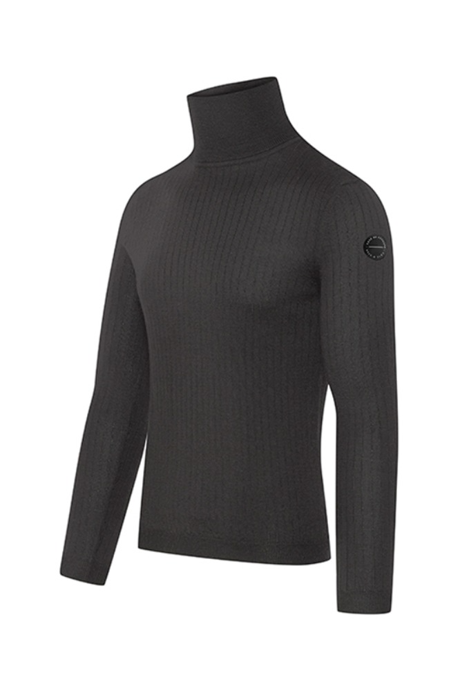 [Cafe Du Cycliste] Men's Nicole Polar Neck Jumper - Black 니콜 폴라넥 점퍼 블랙